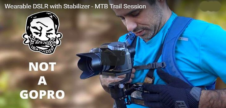 Mirrorless DSLR with Gimbal mountain biking